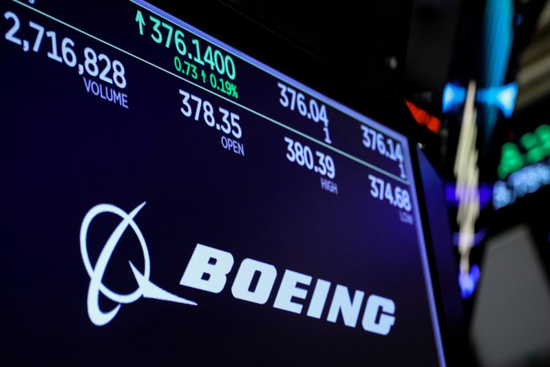 FILE PHOTO: Company logo and trading information for Boeing is displayed on a screen on the floor of the NYSE in New York