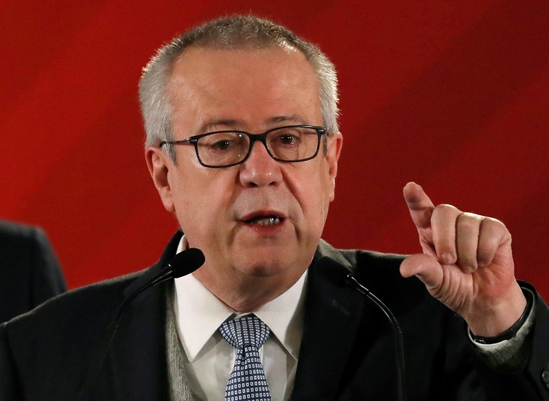 FILE PHOTO: Mexico's Finance Minister Carlos Urzua speaks during a news conference to announce a plan to strengthen finances of state oil firm Pemex, at the National Palace in Mexico City