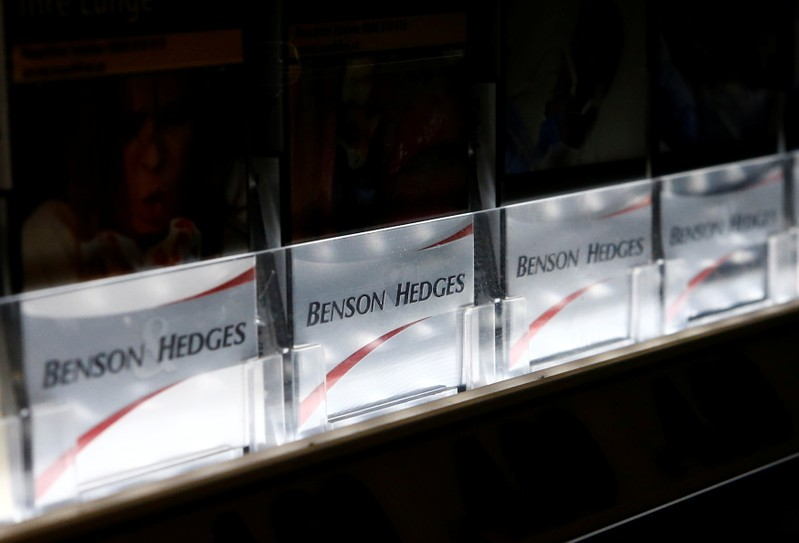 FILE PHOTO: Packs of Benson & Hedges cigarettes are on display in a tobacco shop in Vienna