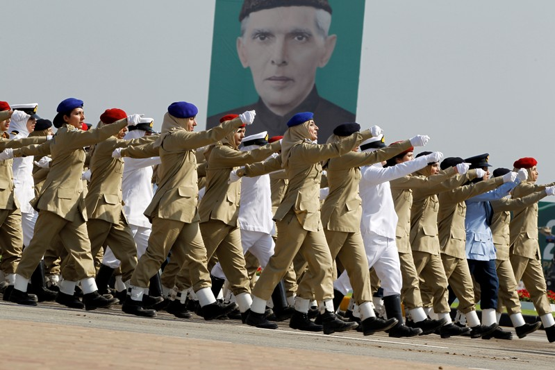 Women from armed forces march in the Pakistan Day military parade in Islamabad