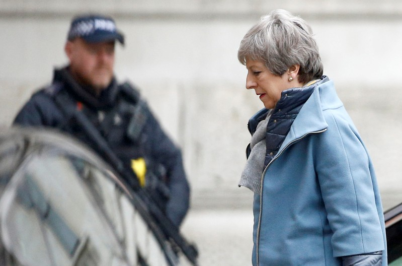 Britain's Prime Minister Theresa May is seen outside Downing Street in London