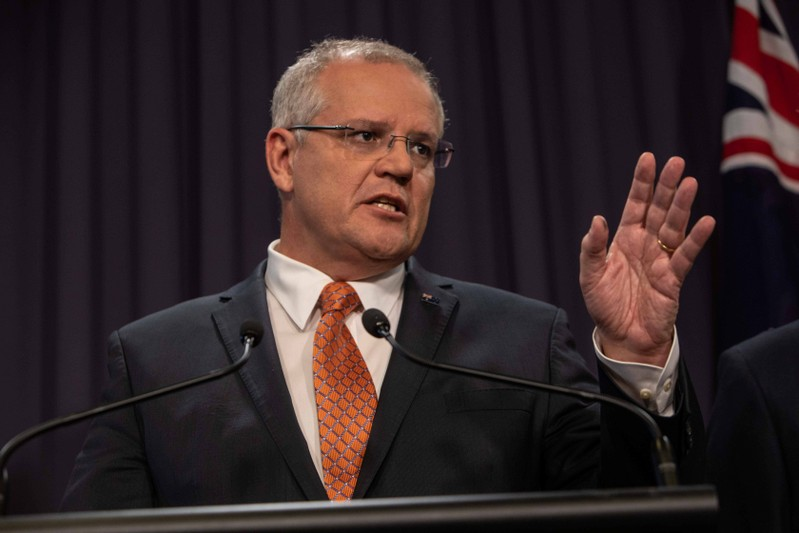 Prime Minister Morrison speaks to the media during a press conference at Parliament House in Canberra