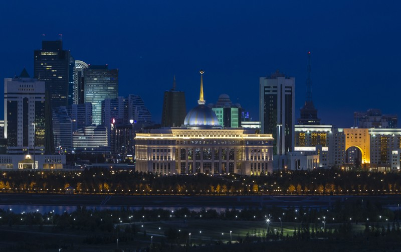 The Akorda, official residence of the Kazakhstan president, is seen amidst the city skyline in Astana