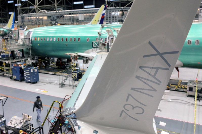 FILE PHOTO: A wing of the Boeing 737 MAX is pictured during a media tour of the Boeing 737 MAX at the Boeing plant in Renton, Washington