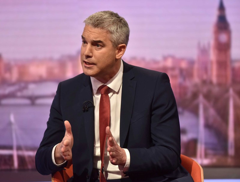 Britain's Secretary of State for Exiting the European Union Steve Barclay appears on BBC TV's The Andrew Marr Show in London