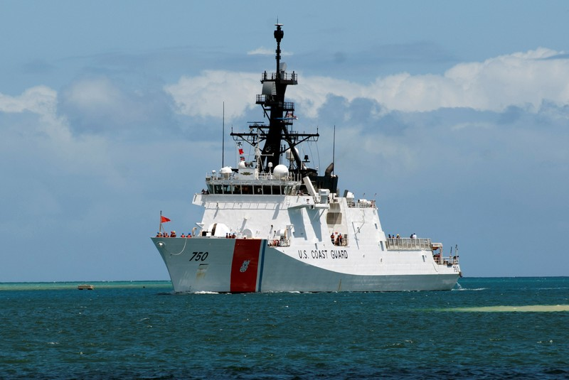The U.S. Coast Guard Legend-class maritime security cutter USCGC Bertholf (WMSL 750) pulls into Joint Base Pearl Harbor-Hickam