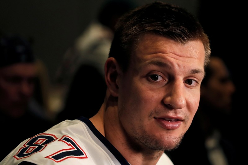 FILE PHOTO: New England Patriots tight end Rob Gronkowski speaks to reporters ahead of Super Bowl LIII in Atlanta