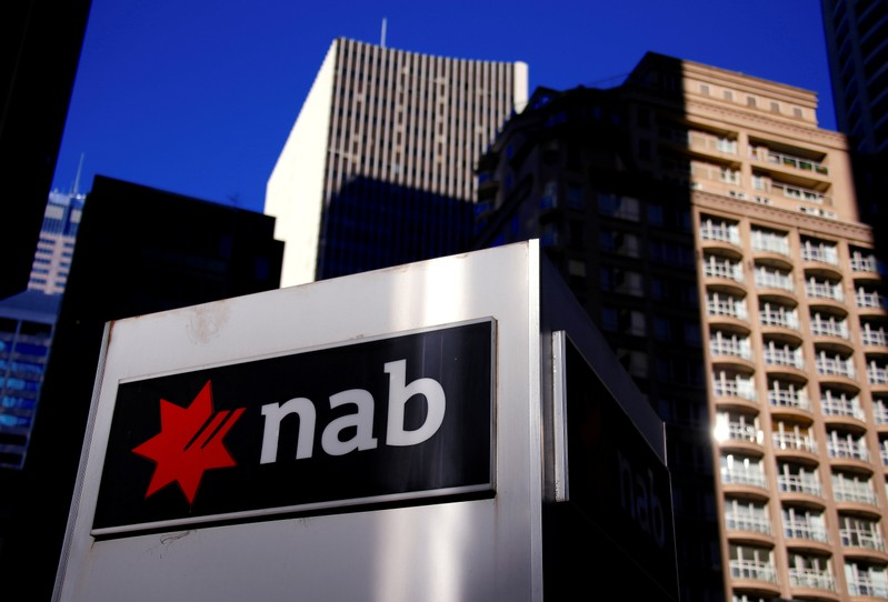 FILE PHOTO: The logo of the National Australia Bank is displayed outside its headquarters building in central Sydney