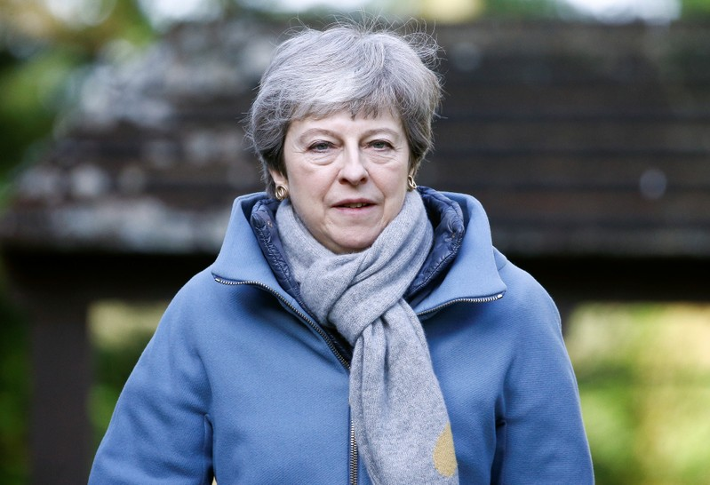 Britain's Prime Minister Theresa May arrives at church, near High Wycombe