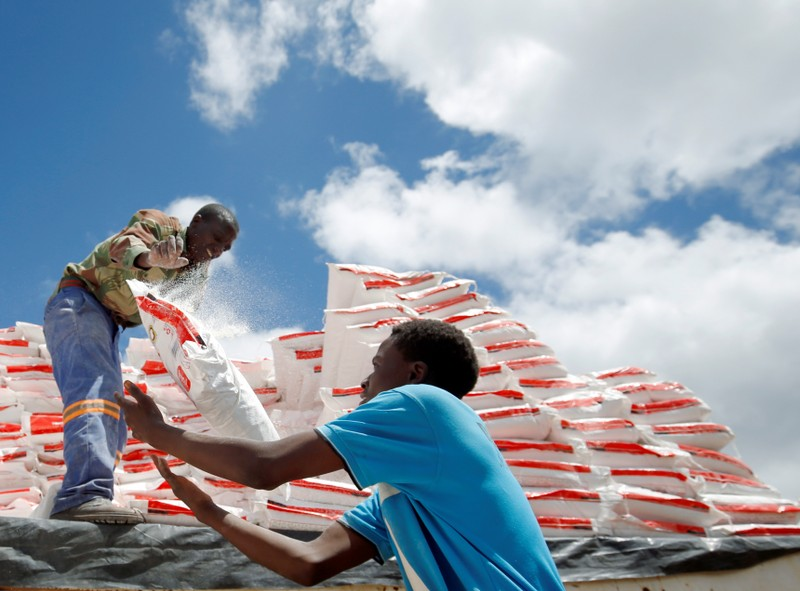 Aid workers offload maize meal for victims of Cyclone Idai at Siverstream Estates in Chipinge