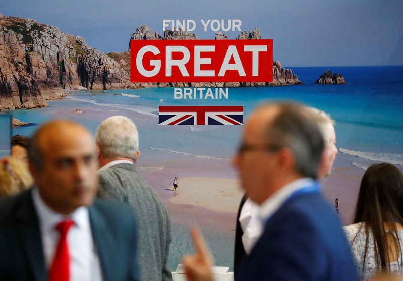 The booth of Britain is seen during the International Tourism Trade Fair ITB in Berlin