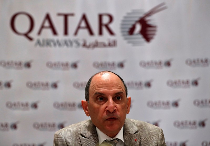 FILE PHOTO - Akbar Al Baker, Qatar Airways CEO, talks to media during a roundtable conference in New Delhi