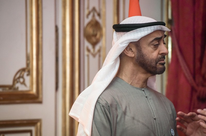 FILE PHOTO - Abu Dhabi Crown Prince Sheikh Mohammed bin Zayed Al Nahyan is pictured as he speaks with French Prime Minister Edouard Philippe during a dinner at the Hotel de Matignon in Paris