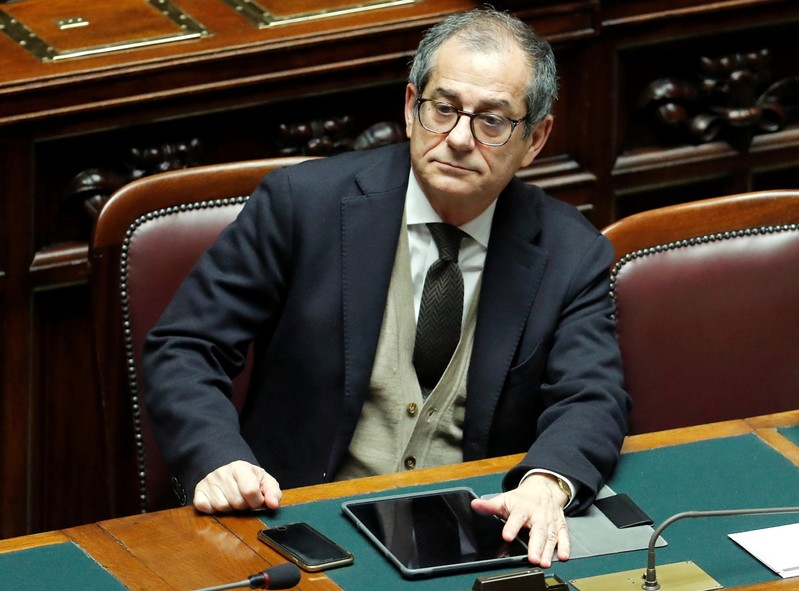 Italian Economy Minister Giovanni Tria attends a final vote on Italy's 2019 budget law at the Lower House of the Parliament in Rome