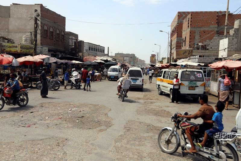 General view of a market on Sadam street in Hodeidah
