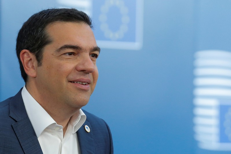 FILE PHOTO: Greek Prime Minister Alexis Tsipras arrives at a European Union leaders summit in Brussels