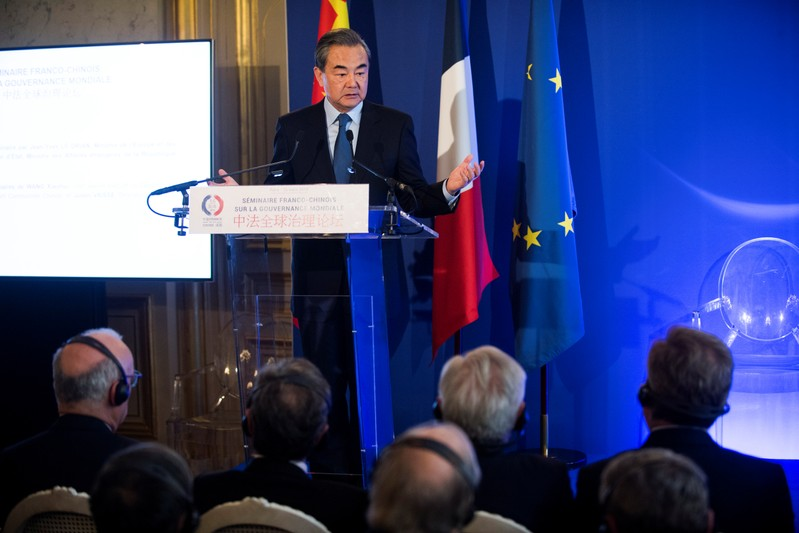 Chinese Foreign Minister Wang Yi speaks during a Franco Chinese seminar of global governance in Quai d'Orsay in Paris