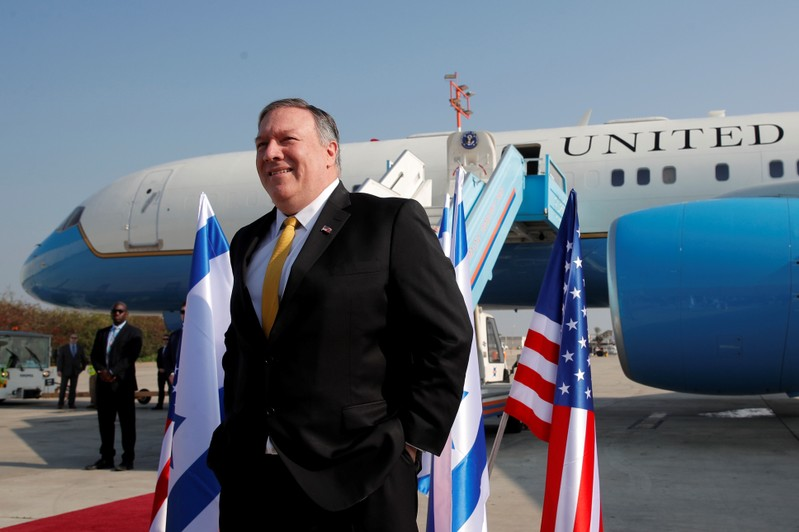 FILE PHOTO: U.S. Secretary of State Mike Pompeo stands next to his airplane before boarding it to Beirut at Ben Gurion airport near Lod, Israel