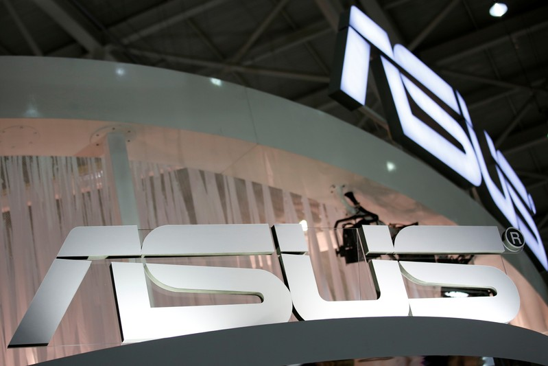 Logos of Taiwanese multinational computer hardware and electronics company Asus are seen during the annual Computex computer exhibition in Taipei