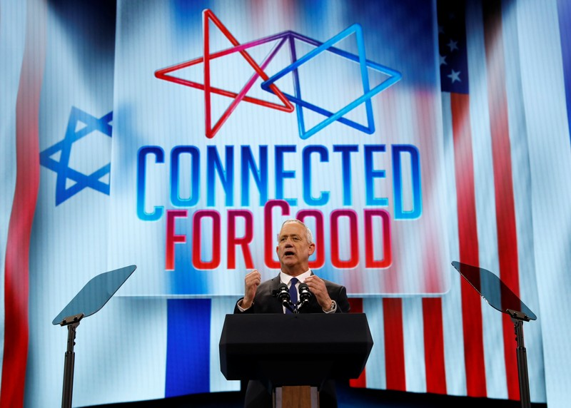 Blue and White party leader Benny Gantz speaks at AIPAC in Washington