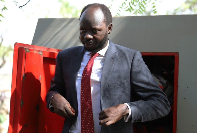 Peter Biar Ajak, the South Sudan country director for the London School of Economics' International Growth Centre based in Britain, arrives at the courtroom in Juba
