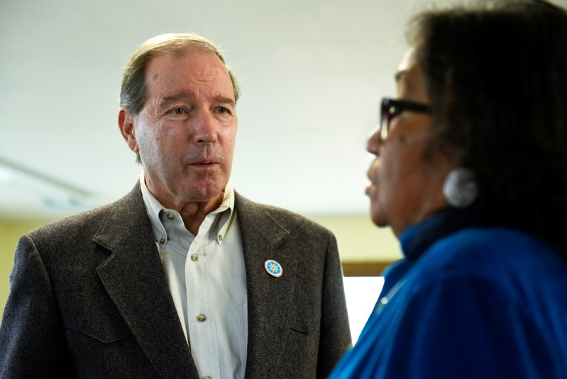 FILE PHOTO: Sen. Tom Udall visits the Standing Rock Reservation near Fort Yates