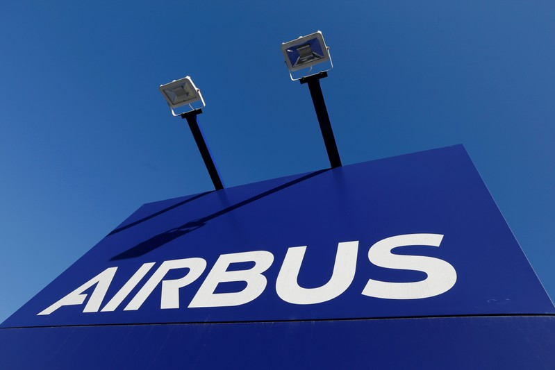 The Airbus logo is pictured at Airbus headquarters in Blagnac near Toulouse