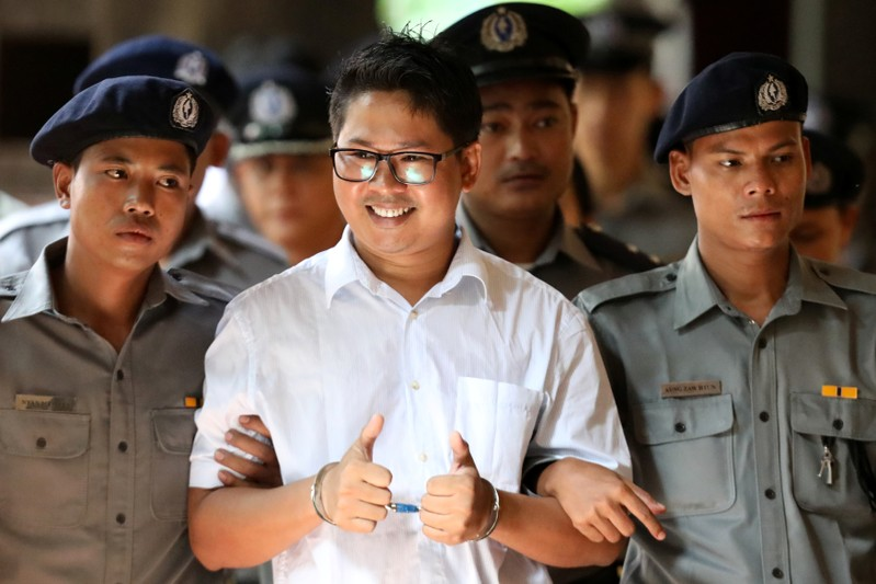 Reuters journalist Wa Lone arrives at Insein court in Yangon
