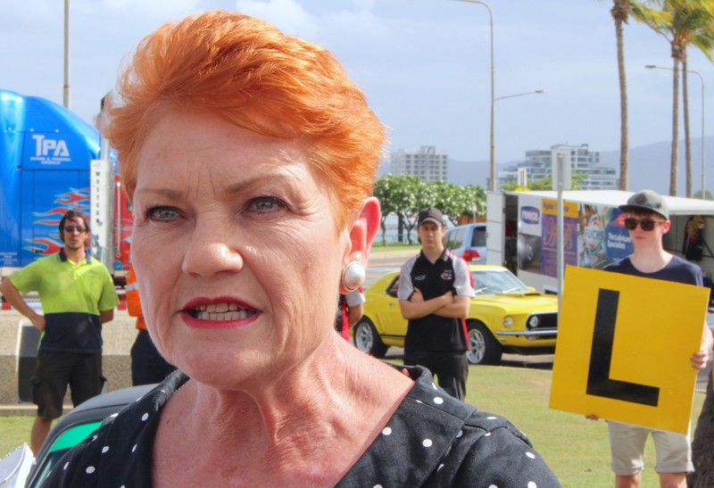 Australian senator Pauline Hanson talks with members of the media at a driving safety event in the northern Australian town of Townsville in Queensland