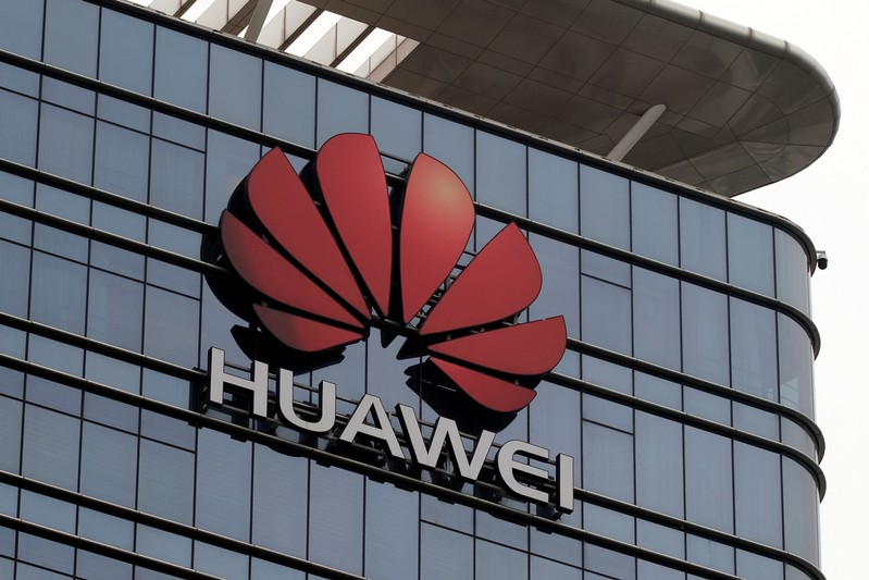 The Huawei logo is pictured outside its Huawei's factory campus in Dongguan, Guangdong province