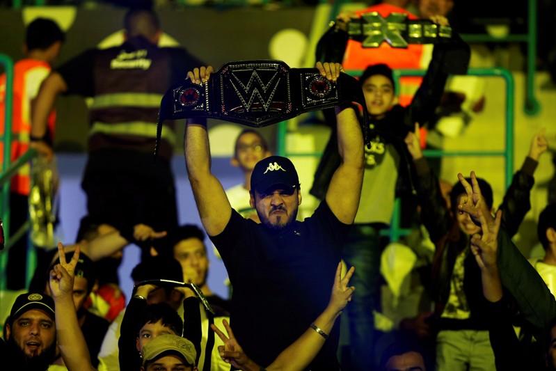 FILE PHOTO: Saudi fans watch the WWE