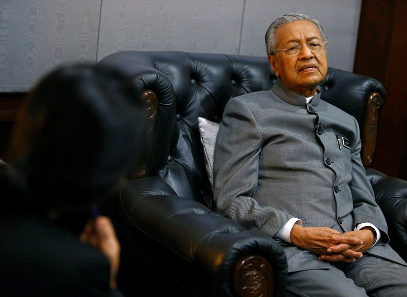 Malaysia's Prime Minister Mahathir Mohamad reacts during an interview with Reuters in Langkawi