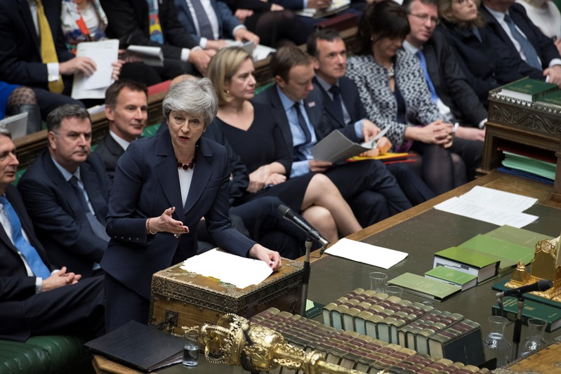 British PM May speaks at the House of Commons in London