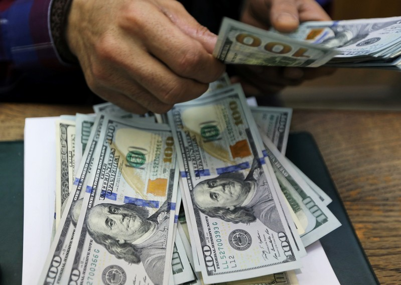 FILE PHOTO: An employee counts U.S dollar bills at a money exchange office in central Cairo