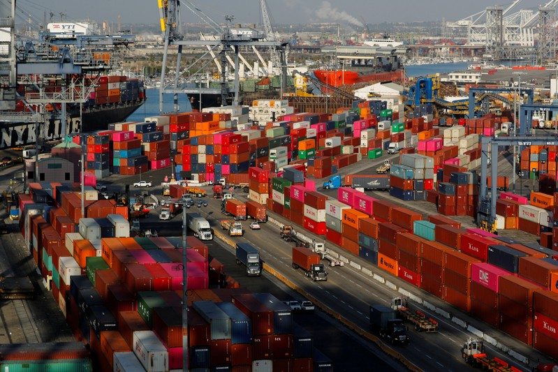 FILE PHOTO: Shipping containers are pictured at Yusen Terminals at the Port of Los Angeles in Los Angeles