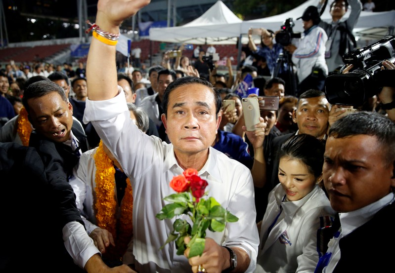FILE PHOTO: Thailand's Prime Minister Prayut Chan-o-cha attends the Palang Pracharath Party's party campaign rally in central Bangkok