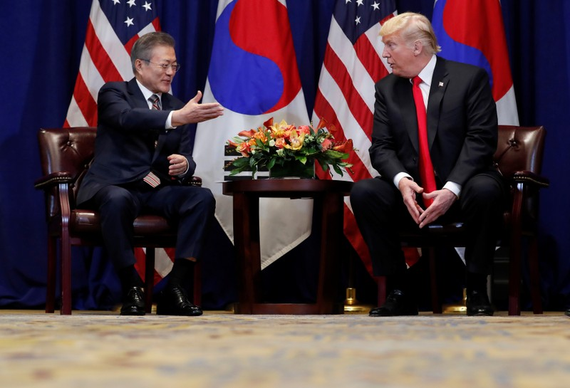 U.S. President Trump holds a bilateral meeting with South Korean President Moon on sidelines of the United Nations General Assembly in New York