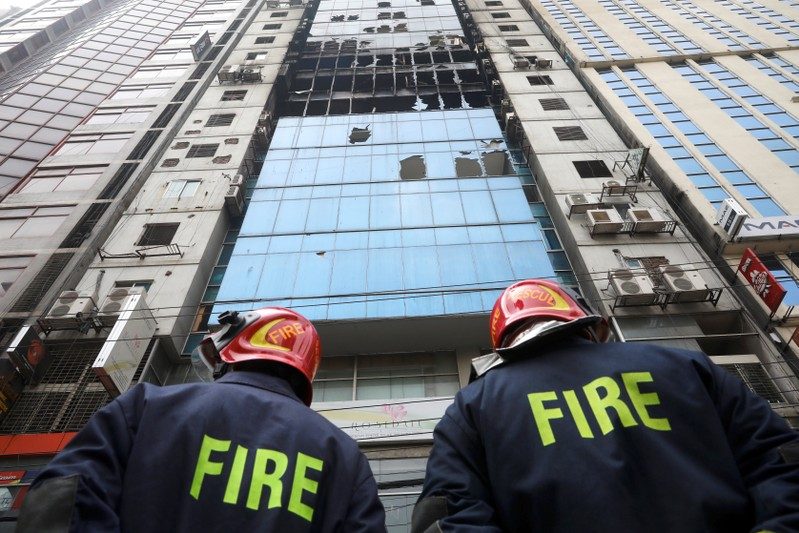 Building is seen where a fire broke out in Dhaka