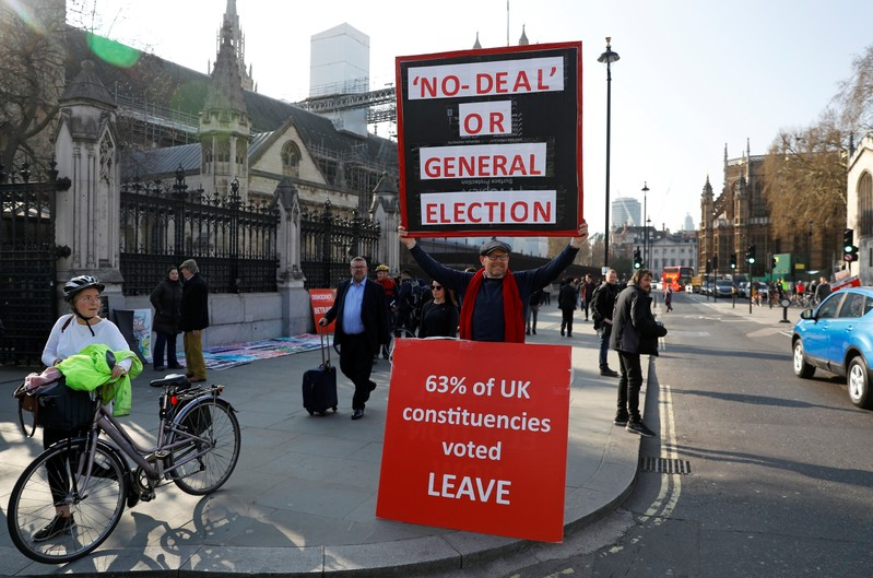 A Brexit supporter demonstrates outside the Parliament in London