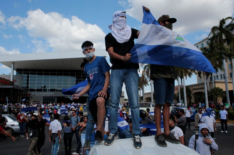 Demonstrators participate in a protest against the government of Nicaragua's President Daniel Ortega in Managua
