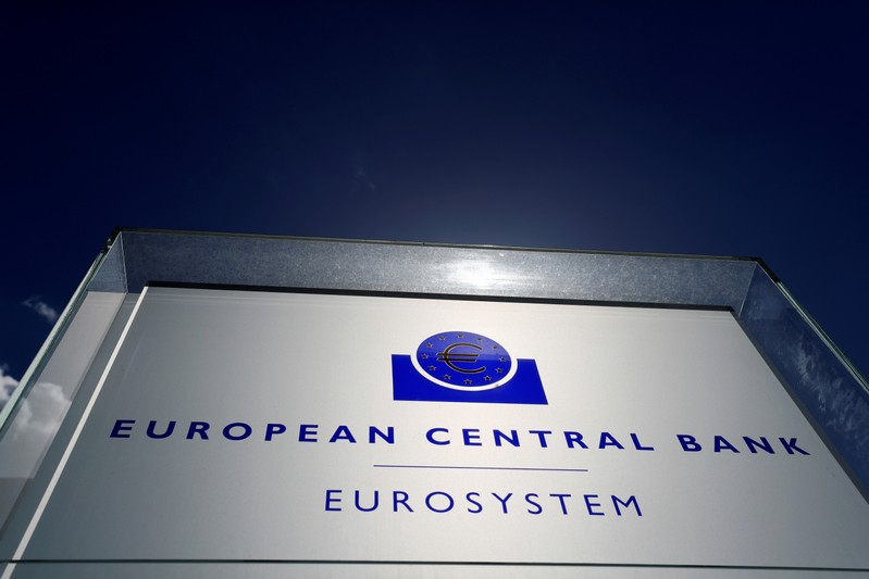 FILE PHOTO: The logo of the European Central Bank (ECB) is pictured outside its headquarters in Frankfurt