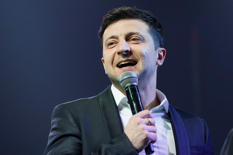 Volodymyr Zelenskiy hosts a comedy show at a concert hall in Brovary