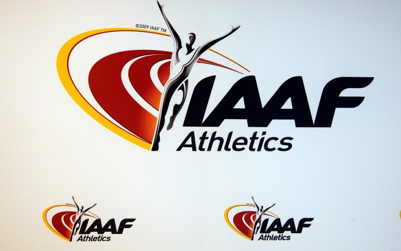 FILE PHOTO: The logo of the International Association of Athletics Federations (IAAF) is seen in Monaco