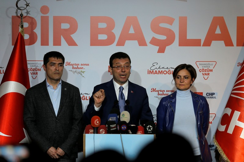 Imamoglu, mayoral candidate of main opposition CHP speaks during news conference in Istanbul