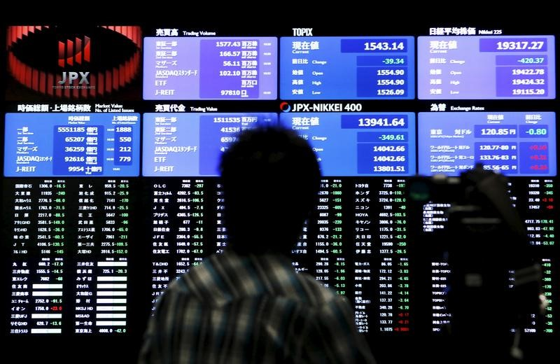 FILE PHOTO: A videographer films an electronic board showing the Japan's Nikkei average and related indexes at the Tokyo Stock Exchange in Tokyo