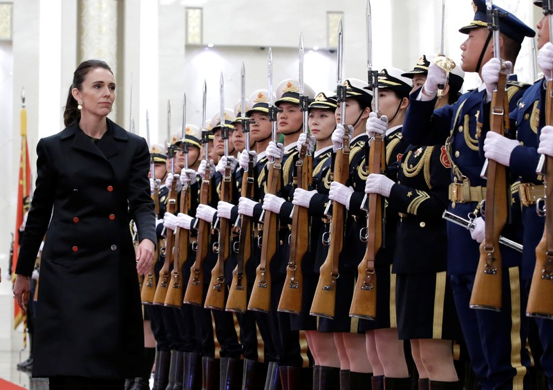 New Zealand Prime Minister Jacinda Ardern attends a welcome ceremony hosted by China's Premier Li Keqiang in Beijing