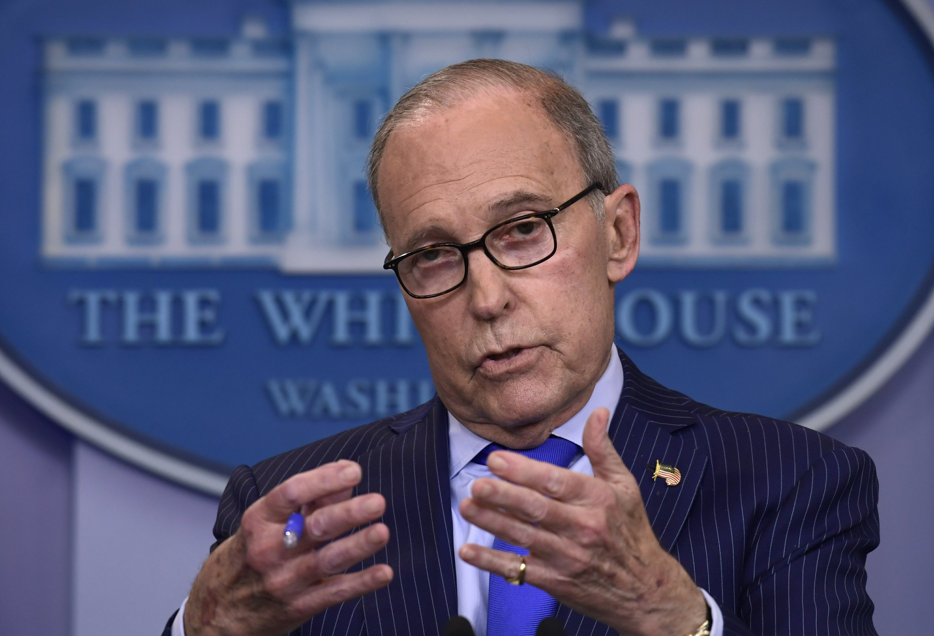 Senior White House economic adviser Larry Kudlow speaks during a briefing at the White House in Washington