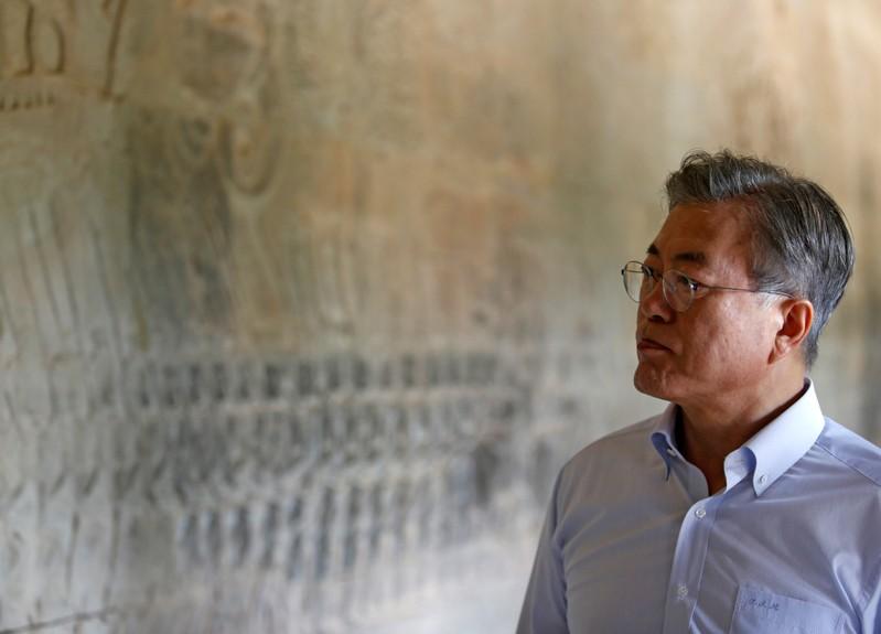South Korean President Moon Jae-in visits the Angkor Wat temple, in Siem Reap province