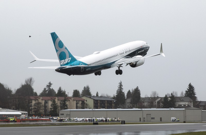 FILE PHOTO: A Boeing 737 MAX 8 takes off during a flight test in Renton, Washington