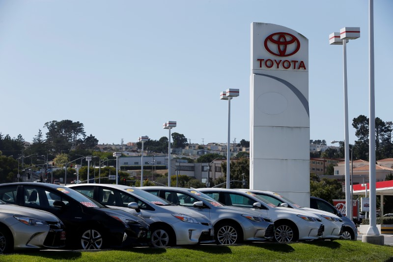 FILE PHOTO:  Cars for sale are seen at City Toyota in Daly City, California